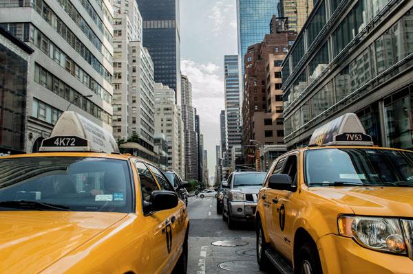 Taxis jaunes à New York (Etats-Unis)