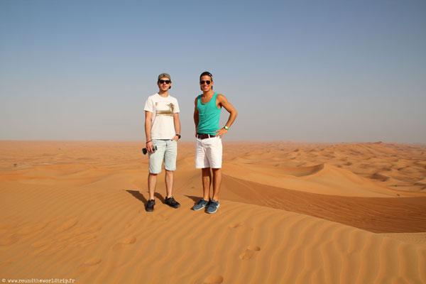 Jeffrey et Fabien dans le désert à Dubai
