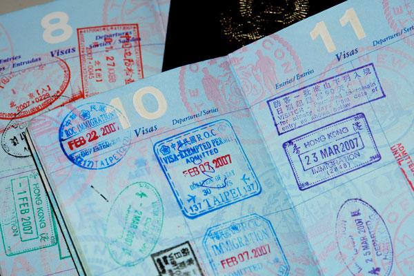 Tampons d'immigration sur passeport