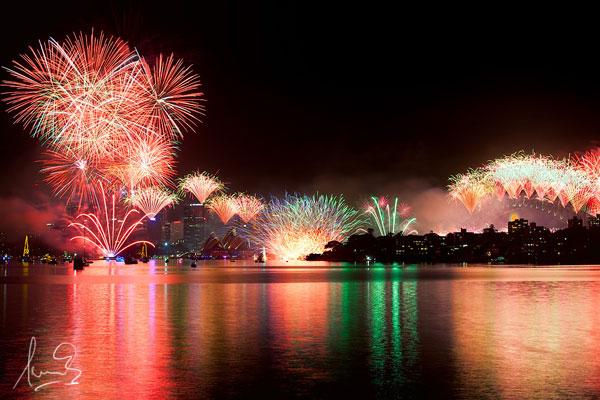 Nouvel An et feux d'artifice à Sydney (Australie)