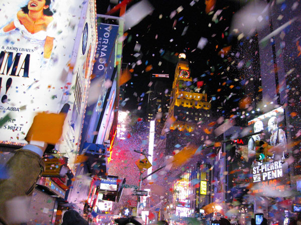 Confettis sur Times Square pour le Nouvel An, New York (USA)
