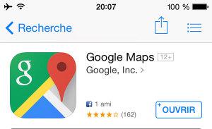 Application mobile pour voyager : Google Maps