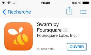 Application mobile pour voyager : Swarm
