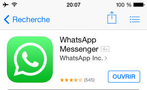 Application mobile pour voyager : WhatsApp Messenger