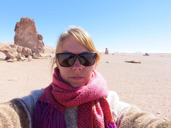 Selfie d'Anaïs à San Pedro de Atacama, Chili