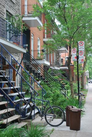 Façades typiques du quartier du Plateau, Montréal