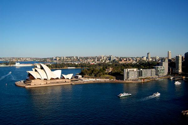 3 jours à Sydney : Le Sydney Opera House vu depuis le Harbour Bridge