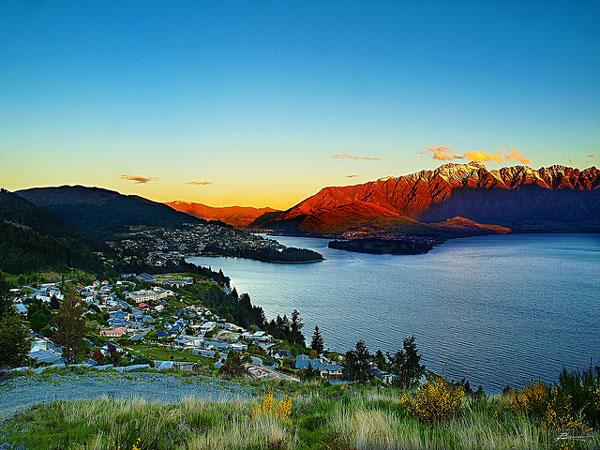 Coucher de soleil sur Queenstown (Nouvelle-Zélande)