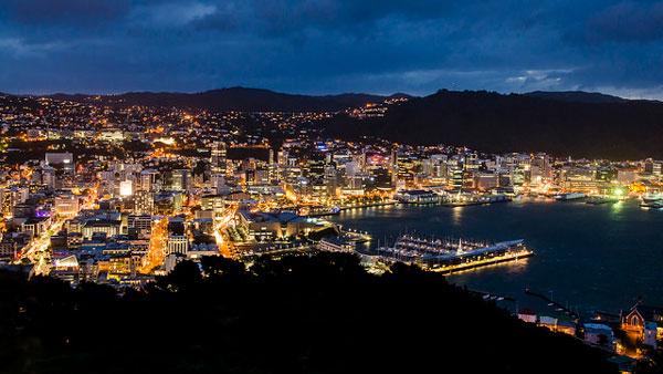 Wellington de nuit (Nouvelle-Zélande)