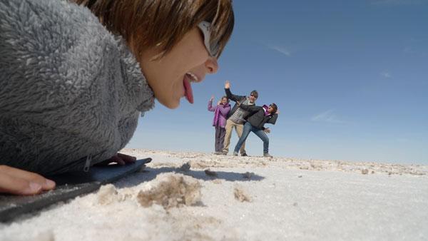 Balthazar et sa famille sur le Salar de Uyuni, Bolivie
