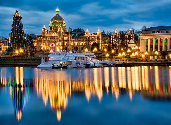 Lumières de Noël à Victoria, en Colombie-Britannique, Canada