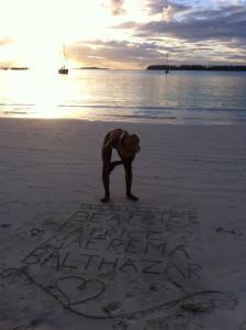 Maerema sur la plage de Kanumera, sur l'Île des Pins, en Nouvelle-Calédonie