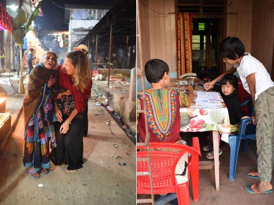 """Oriane et """"Dadi"""" à Pedong, en Inde (à gauche) et Ilyan et Nayla qui font de la peinture avec une petite fille, en Inde (à droite)"""