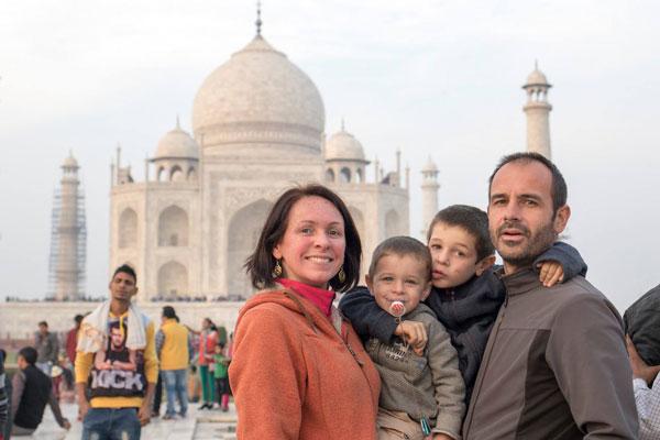 Alice, Frédéric et leurs garçons Esteban et Ruben pendant leur tour du monde
