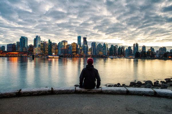 Skyline de Vancouver de nuit