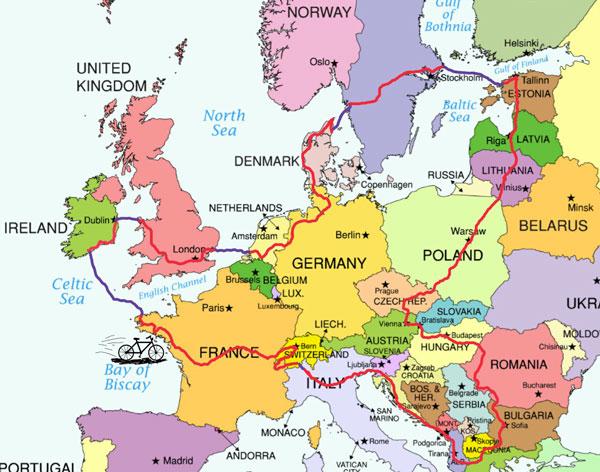 Carte du tour d'Europe à vélo d'Alan