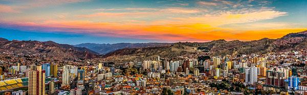 Coucher de soleil sur La Paz depuis le mirador Killi Killi