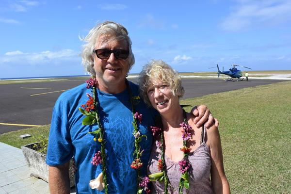 Catherine et Philippe en en Polynésie, sur l'île de Huahine