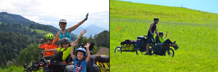 Quentin et sa famille sur le super vélo