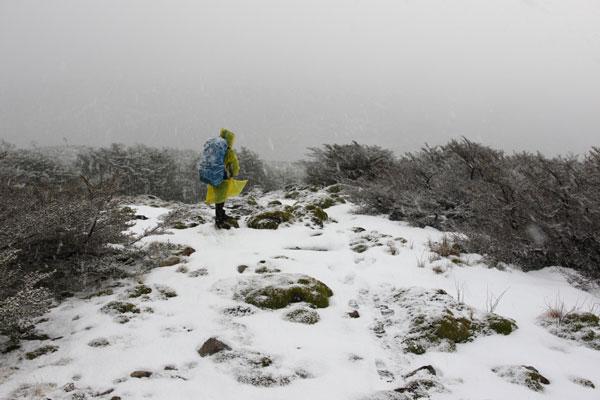 Trek des Dientes de Navarino sous la neige, Chili